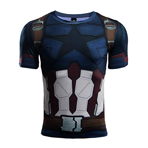 Short Sleeve 3D Print T-Shirt for Men's Captain America Compression Shirt (Large, Infinity - T-shirt Infinity