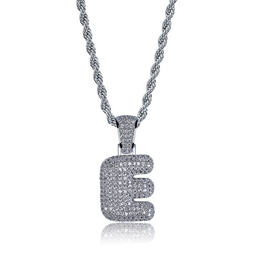64cff78dc HECHUANG Micropave Simulated Diamond Iced Out Bling Custom Bubble Letters  Pendant with Rope Chain (E