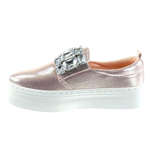 lucide strass gioielli 4 Moda da donna Angkorly Tacco Sneaker zeppe CM piatto Rosa Scarpe tacco U08Yqwp