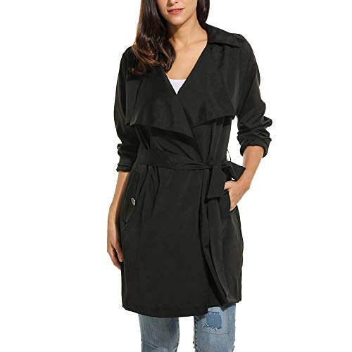 Belted Floral Trench Coat - Women Casual Trench Coats Lightweight Windproof Jacket Wrap Belted Cardigan