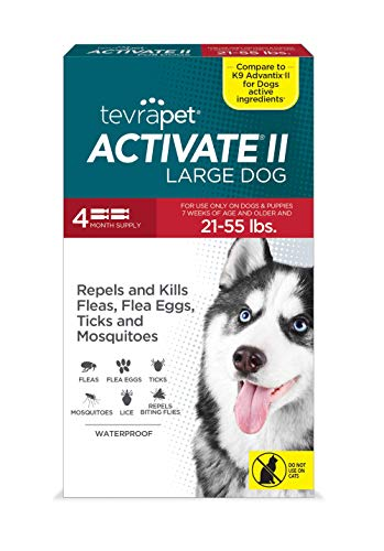 TevraPet Activate II Flea and Tick Prevention for Dogs   4 Months Supply   Large Dogs 21-55 lbs   Medicine for Treatment and Control   Topical Drops
