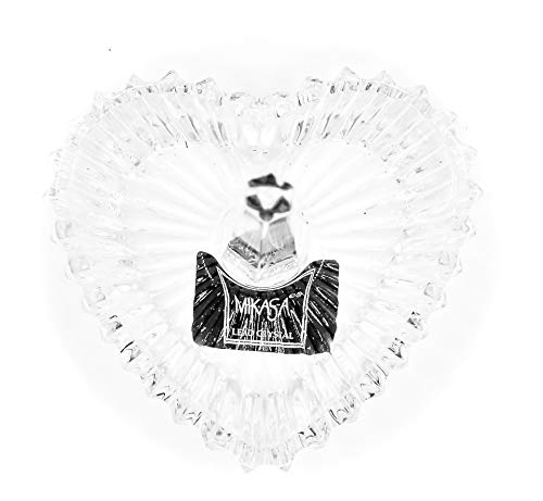Ardsley Mikasa Heart Ring Holder,Crystal Heart Shaped Bowl,Sun Rays Design