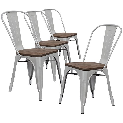 LCH Industrial Metal Wood Top Stackable Dining Chairs, Set of 4 Vintage Indoor/Outdoor Stackable Bistro Cafe Chairs with Back, Silver