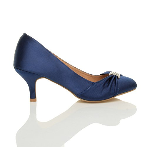 Ajvani - Zapatos de vestir para mujer Navy Satin