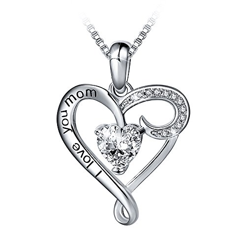 Mother's Birthday Gift I Love You Mom S925 Sterling Silver Heart Pendant Necklace (I Love You Mom-White Heart)