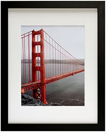 Frametory, 11x14 Black Picture Frames - Made to Display Pictures 8x10 with Mat or 11x14 Without Mat - Wide Molding - Pre-Installed Wall Mounting Hardware
