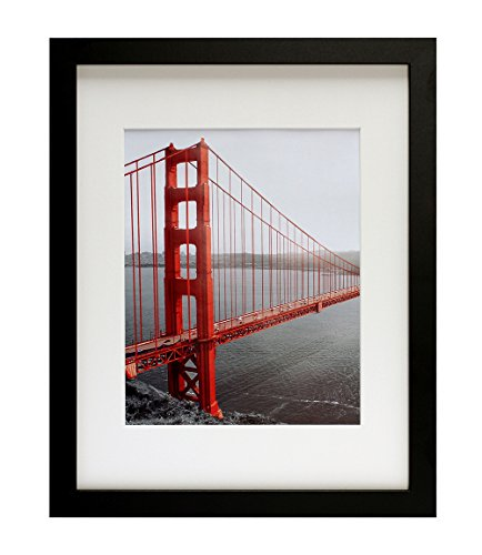 Frametory, 11x14 Black Picture Frame - Made to Display Pictures 8x10 with Mat or 11x14 Without Mat - Wide Molding - Pre-installed Wall Mounting Hardware (Photograph Framed California)