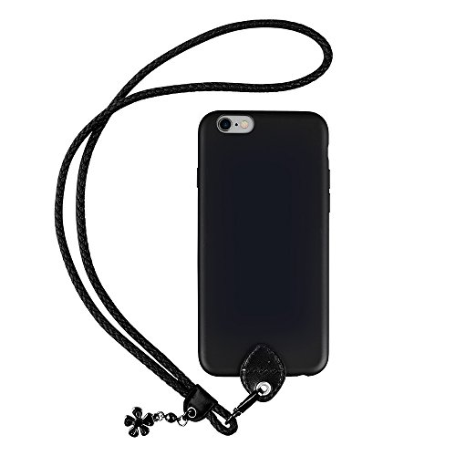 pzoz Case Compatible iPhone 6 Lanyard Case, Silicone Case Cover Holder Long Hanging Neck Wrist Strap Outdoors Travel Necklace Compatible iPhone 6/6s (NOT Plus) (Black)