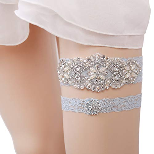 Eliffete Blue Bridal Lace Garter Set with Rhinestones for Bride Toss Away -
