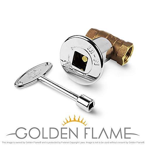 Golden Flame Gas Key Valve Kit-Manual Straight QTR Turn - Chrome ()