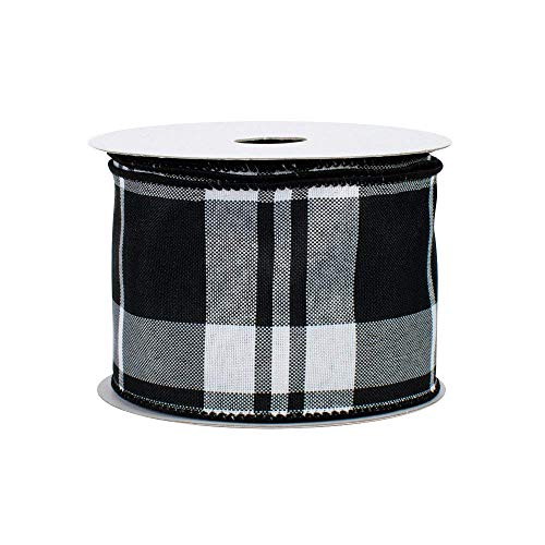 White Black Plaid Wired Ribbon - 2 1/2