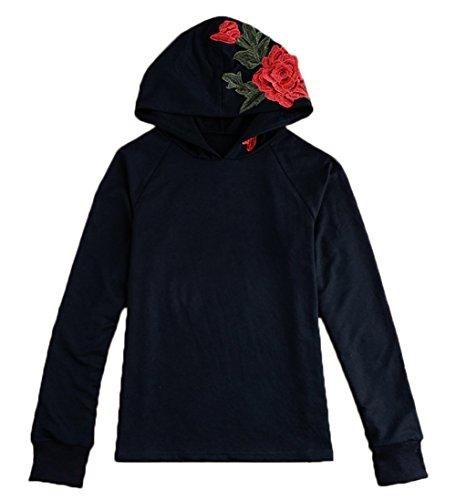 赤字プロテスタント回転女性 長袖のパーカー 薄いセーター ブラウス バラの刺繍とトップス