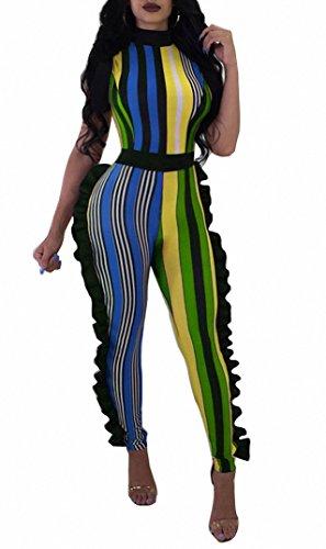 Remelon Womens Sleeveless Stripe High Neck Ruffle High Waist Bodyocn Jumpsuits Long Romper Pants Multi Yellow S