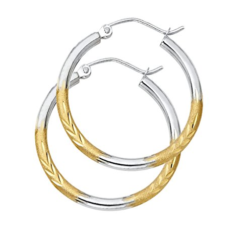 14K Yellow White Gold 2mm Diamond Cut Satin Hoop Earrings Size - (Diameter - 25 MM) by Top Gold & Diamond Jewelry