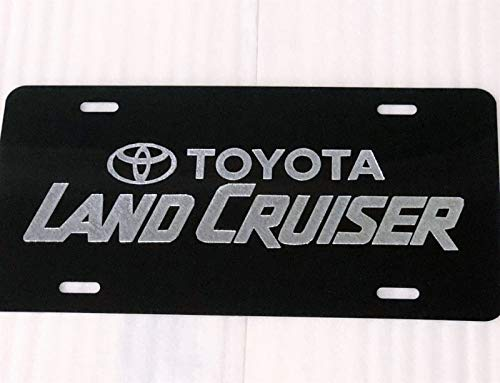 Diamond Etched Toyota Land Cruiser Car Tag on Black Aluminum License Plate - Cruiser Toyota Land Diamond