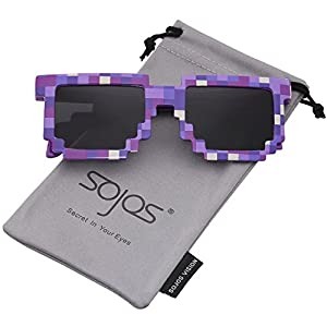 SojoS Thug Life Glasses 8 Bit Style Pixel Deal With It Unisex Sunglasses SJ2049 with Purple