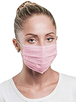 AMZ Spa Face Mask. Pack of 100 Facial Masks for spa procedures. Ear Loop, Pleated, 3-ply. Disposable Spa Masks Lightweight Spa Masks. Latex-free. Pink color.