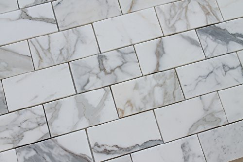 10 Square Feet - 3'' x 6'' Calacatta Gold Polished Marble Subway Tiles by Rocky Point Tile