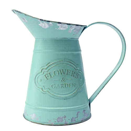 Green Rustic Vases - MISIXILE Green Shabby Chic Metal Flower Vase Jug Pitcher Holder for Home Decoration