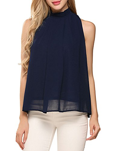 Sleeveless Lined Blouse - Halife Women's Casual Pleated Front Sleeveless High Neck Chiffon Blouse Tops Navy Blue L