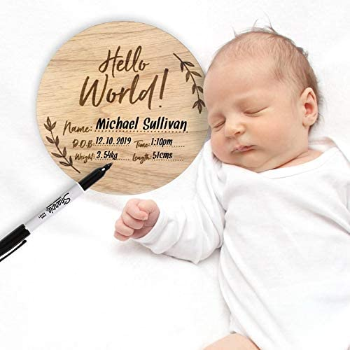 Unique Baby Shower Gift for New Moms Parents Birth Announcement Sign for Girls for boys Wood Hello World Name Plaque