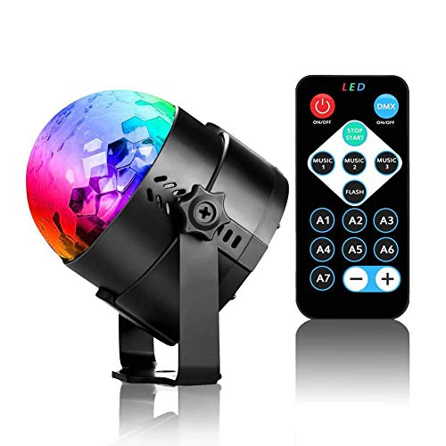 Disco Ball Strobe Light,Sound Activated Party Lights Disco Lights with Remote Control for Home Room Dancing Show Birthday Parties Karaoke Club Pub Xmas (Water Ripple - Dancing Globe