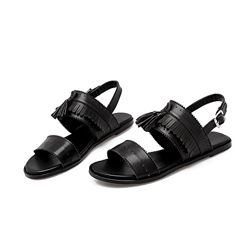 AllhqFashion Women's Solid PU Low-heels Open Toe Buckle Sandals Black A5SbxxU