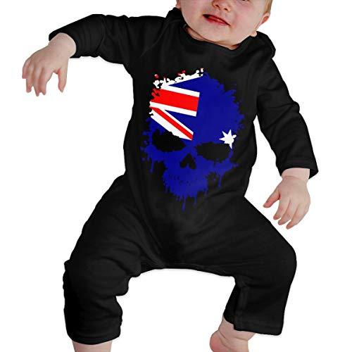 U99oi-9 Long Sleeve Cotton Bodysuit for Unisex Baby, Fashion Australia Skull Onesies -