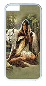 """iPhone 6 Case - Scratch Protection Ultra Slim Fit Hard PolyCarbonate White Plastic Case for Apple iPhone 6 (4.7"""") with Pattern: Protector Native American"""