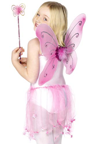 Smiffys Butterfly Wings with Wand, Flower and Glitter Trim - Pink for $<!--$5.39-->