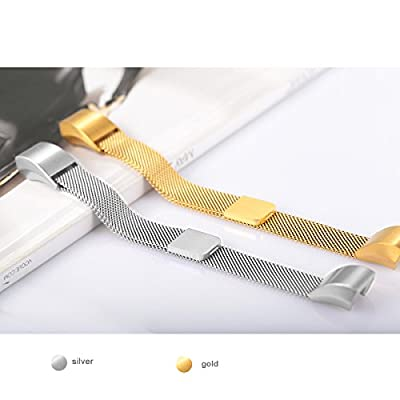 """For Fitbit Alta HR and Alta Bands, bayite Replacement Milanese Loop Stainless Steel Metal Bands Pack of 2 Small 5.5""""-6.7"""" Silver and Gold"""