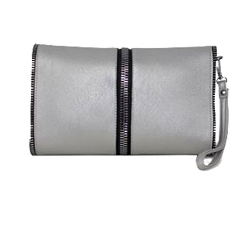 Zipped Clutch Silver Diva for Star White Edge Bag Women Haute aHfqw