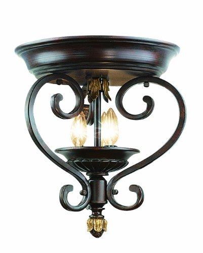 Woodbridge Lighting 36000-BOR Harrington 3-Light Flush Mount, (Bordeaux Flush Mount Ceiling Light)