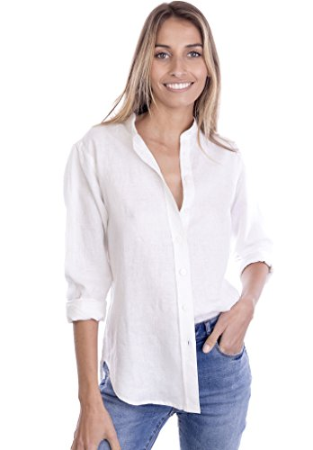 CAMIXA Women's Crushed Linen Casual Button-down Shirt Start from the basic S Lotus White