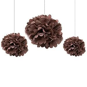 Somnr® Pack of 12PCS Mixed Sizes Brown Tissue Paper Flower Pom Poms Pompoms Wedding Birthday Party Nursery Decoration