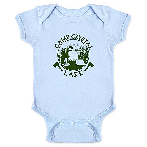 Pop Threads Camp Crystal Lake Counselor Shirt Costume Staff Light Blue 6M Infant Bodysuit