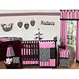 Sweet Jojo Designs 9-Piece Hot Pink and Black Madison Boutique Baby Girl Bedding Crib Set