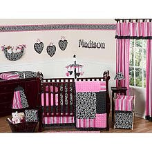 Chenille Polka Dot Blankets (Sweet Jojo Designs 9-Piece Hot Pink and Black Madison Boutique Baby Girl Bedding Crib Set)