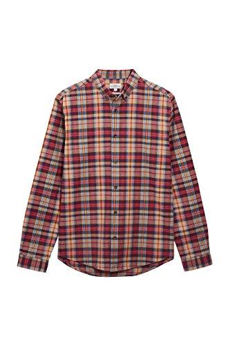 next Men Orange Long Sleeve Madras Check Shirt Blouse Top