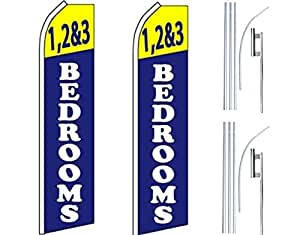 2 Swooper Flutter Flags plus 2 Poles & Ground Spikes 1,2&3 BEDROOMS Blue White Yellow