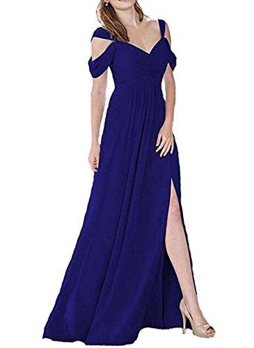 Schlitz Abschlusskleider A Brautjungfernkleider Chiffon Damen mit Blue Line Royal Lang Abendkleider U4qf8