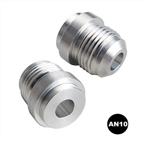DEWHEL 2pcs Aluminum Weld On Fitting Bung Male Adapter - 10 AN AN10 Aluminum Adapter Weld Fitting