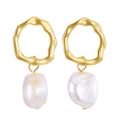 SENGUFENG Baroque Freshwater Pearl Gold Plated Simple Drop Dangle Stud Earrings Jewelry for Women Girl - Jewelry Earrings Stud Dangle