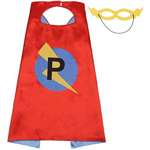 Girls Party Cape with Masks Set for Kid's Gifts,Kid Superhero Cape,25 Letter Initial Cape for Birthday Party Supply(Cape-P)