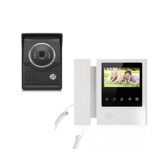 Video Door Phone System, WOLILIWO 4.3 Inch Clear LCD Monitor Wired Video Intercom Doorbell Home Security Color TFT LCD HD Wired for House Office Apartment