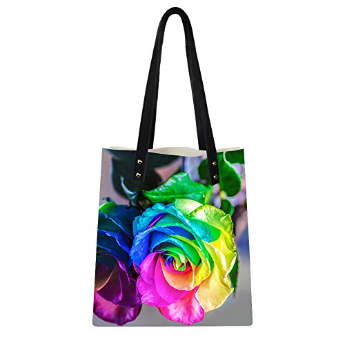 4 Women PU Bags Rose Fashion Instantarts Rose Tote Rainbow Leather Print Shoulder wUqxZtBP