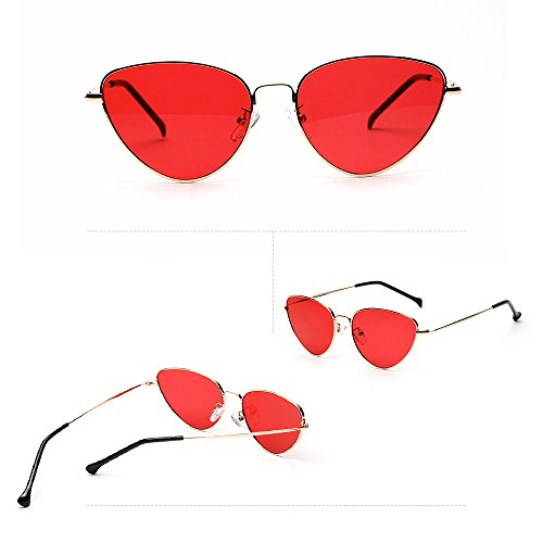 Ligero Lente Talla Clásico Gafas Sol del Única Polarizadas Marco de Mujer de UV Contever Rojo Metal Espejo Aviador Protección 400 dpqawC4dx