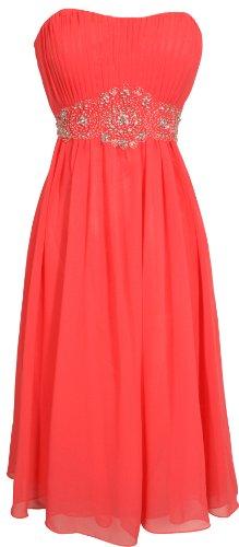 Strapless Chiffon Goddess Prom Dress Knee-Length Junior Plus Size, Medium, Coral