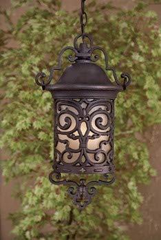 Minka Great Outdoors 9194-189-PL Chelesa Road - One Light Outdoor Chain Hung Lantern, Chelesa Bronze Finish with French Scavo Glass ()