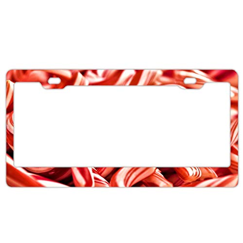KSLIDS Christmas Candy Cane Car License Plate Frame,Alumina License Plate Covers Free Screws Fasteners + Screw Caps